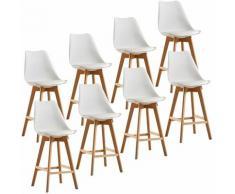 Lot de 8 tabourets de bar pieds en bois hêtre massif - Revêtement simili PU blanc - Scandinave
