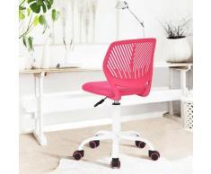Chaise enfant étudiant ergonomique réglable roulant métal rose blanc