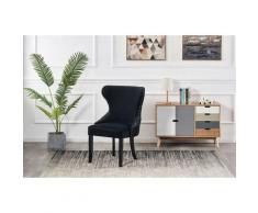 MAYFAIR - Chaise Capitonnée Velours Noir - Style Contemporain - Pieds en Bois - Salle à Manger,