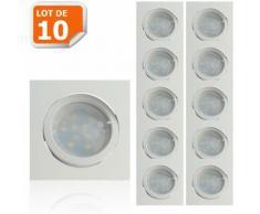 Lot de 10 Spot Led Encastrable Carré Blanc Orientable lumière Blanc Chaud 5W eq. 50W ref.404