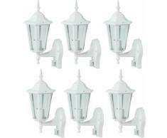 Etc-shop - Lot de 6 appliques terrasses lanternes en verre ALU capteur plot lights blanc