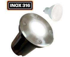 Spot Encastrable de Sol Rond Inox 316 Extérieur IP65 + Ampoule GU10 7W Blanc Froid 6000K