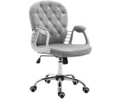 Fauteuil chaise de bureau style contemporain hauteur réglable roulettes pivotant velours 60 x 61 x