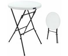 Table haute de bar mange-debout Ø 72 cm blanc Table haute pliante 110 cm Table de bistrot jardin