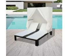 Chaise longue double avec rideau Résine tressée Noir