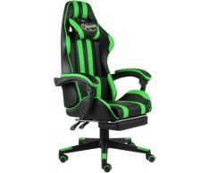 Fauteuil de jeux vidéo avec repose-pied Noir et vert Similicuir1849-A