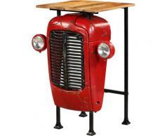 True Deal Table de bar Bois de manguier massif 60x60x107cm Rouge Tracteur
