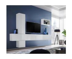 Price Factory - Ensemble meuble télé mural CUBE 6 design coloris blanc et blanc brillant. Meuble de
