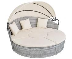 Tectake - Bain de soleil rond modulable SANTORIN - chaise longue, transat bain de soleil, transat