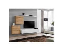 Ensemble meuble salon SWITCH V design, coloris blanc brillant et chêne Wotan. - Blanc