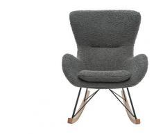 Miliboo - Rocking chair design tissu gris effet laine bouclée ESKUA