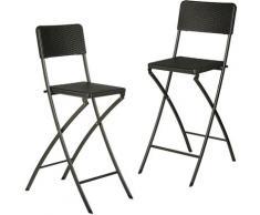 Relaxdays - Chaise de bar lot de 2 avec dossier pliante pliable BASTIAN tabouret 78 cm hauteur, noir