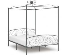 Cadre de lit à baldaquin Gris Métal 180 x 200 cm
