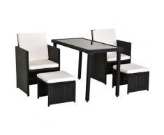 Ensemble salon de jardin encastrable 2 fauteuils monoblocs + 2 tabourets + table basse résine