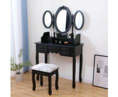MURIEL - Coiffeuse Table maquillage avec tabouret - Noir - 3 miroirs rabattables - 7 tiroirs - 145