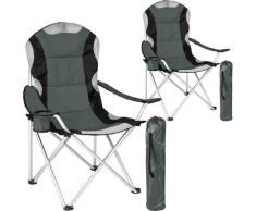 Helloshop26 - Lot de 2 chaises pliantes camping jardin avec rembourrage gris - Gris