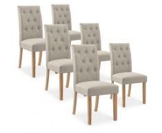 Intensedeco - Lot de 6 chaises capitonnées Gaya tissu beige