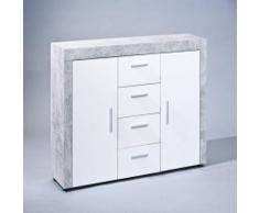 Pegane - Commode en béton coloris Blanc et gris - Dim : 134 x 86 x 40 cm