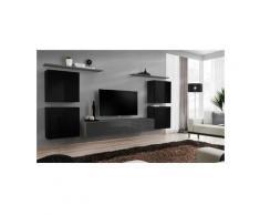 Ensemble meuble salon SWITCH IV design, coloris gris et noir brillant. - Gris