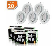 LOT DE 20 SPOT LED ENCASTRABLE COMPLETE ORIENTABLE BLANC AVEC AMPOULE GU10 230V eq. 50W, LUMIERE