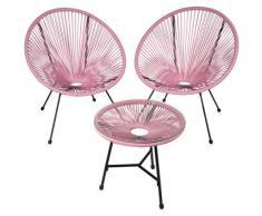 2 Fauteuils Acapulco et 1 Table de Jardin de Salon Design rétro Cadre en Acier Rose