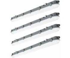 Lot de 4 plafonniers LED longueur 120cm 4000 Kelvin, 4320 lumens Lumière humide et humide pour