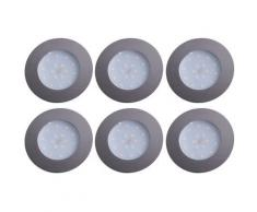 Ensemble de 6 plafonniers LED, chromés, ronds, D 10,2 cm TINUS