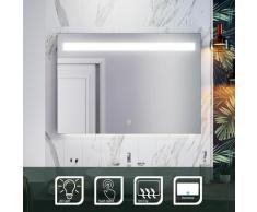 Miroir de Salle de Bain 100x70cm Anti-buée Miroir Mural avec éclairage LED Modèle Carré