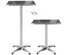 Table de bistrot en aluminium, carrée, H 70 cm