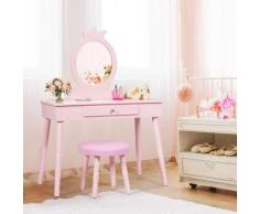 COSTWAY Coiffeuse Enfant avec Tiroir et tabouret, Table de Maquillage de Filles Style Princesse