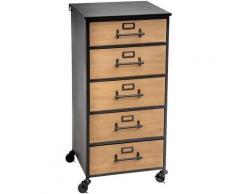 Chiffonnier en bois et fer de 5 tiroirs, noir/naturel - L.42 x l.42,8 x H.87 cm -PEGANE-