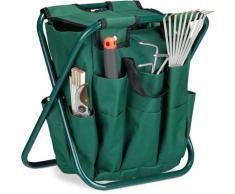 Tabouret porte-outils de jardinage 16 poches et compartiment intérieur pliable HxlxP: 42 x 30 x 39