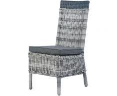 Chaise outdoor tressée ronde NATUREL/ANTHRACITE 45 x 60 x 98 cm - NATUREL/ANTHRACITE
