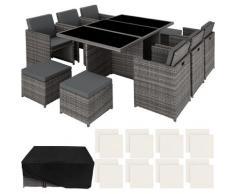 Salon de jardin NEW YORK Résine Tressée Structure Aluminium 6 Chaises 4 Tabourets 1 Table Gris