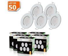 LOT DE 50 SPOT LED COMPLETE RONDE FIXE eq. 50W BLANC CHAUD