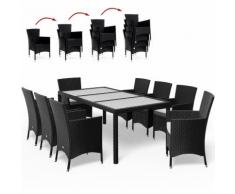 Salon de jardin 17 pcs polyrotin Ensemble table et chaises noir Jardin extérieur