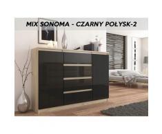 Hucoco - PORTO S2 - Commode contemporaine meuble rangement chambre/salon - 140x40x98 cm - 4 tiroirs
