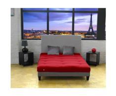 Idliterie - Matelas Futon Coton Couleur - Rouge, Dimensions - 140 x 190 cm
