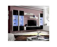 Price Factory - Meuble TV FLY C3 design, coloris blanc et noir brillant. Meuble suspendu moderne et