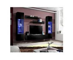 Meuble TV FLY A3 design, coloris noir brillant + LED. Meuble suspendu moderne et tendance pour