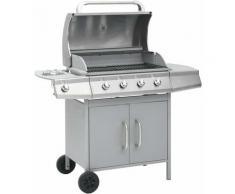Barbecue à gaz 4+1 zones de cuisson Argenté