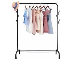 Porte-Manteau Mobile 120cm en Fer Porte Vêtement avec Crochets en Forme d'Arbre Noir