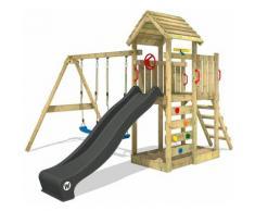 Aire de jeux Portique bois MultiFlyer Toit en bois avec balançoire et toboggan Maison enfant