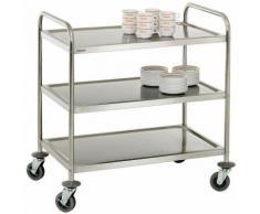 Chariot de service cuisine design professionnel inox 3 étages max 120 kg