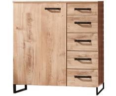 Pegane - Commode à tiroirs Imitation chêne chataigne, rechampis imitation chêne noir - L81 x H92 x