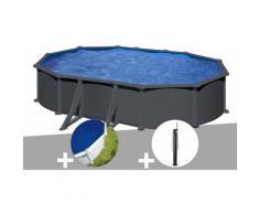 Kit piscine acier gris anthracite Juni ovale 5,27 x 3,27 x 1,32 m + Bâche à bulles + Douche - GRÉ