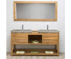 Wanda Collection - Meuble sous vasque en teck massif COSY 160cm + 2 vasques gris