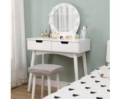 Coiffeuse avec Lumière LED Miroir Ovale Table de Maquillage Contemporain avec Tabouret 131*80*40cm