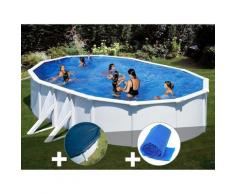 Kit piscine acier blanc Bora Bora ovale 6,34 x 3,99 x 1,22 m + Bâche hiver + Bâche à bulles - GRÉ