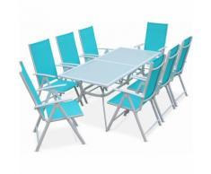 Salon de jardin en aluminium table 8 places Blanc textilène fauteuil turquoise